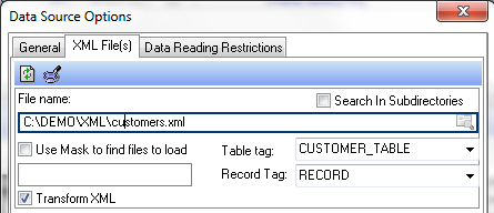 XML Data Source Options