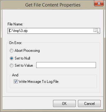 Get File Content Transformation function Properties