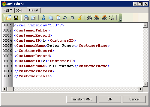 XSLT transformation Result