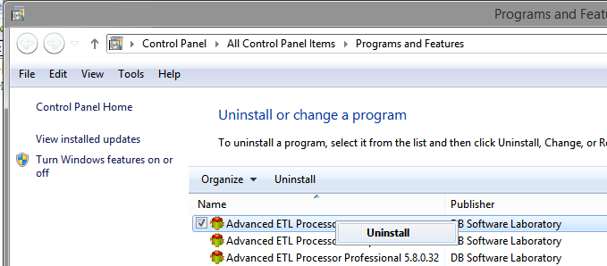 Uninstall Advanced ETL Processor