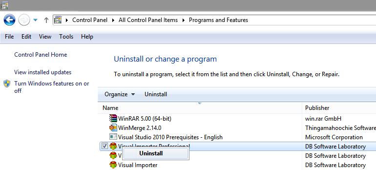 Uninstall Visual Importer ETL Professional