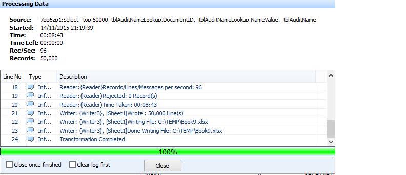SQL Reader - Excel Writer - Freezes on Fetching Bulk on 1000