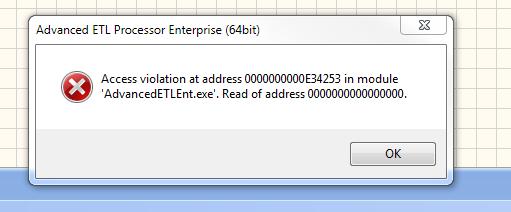 Access Violation at Address 0000000000E34253 in Module